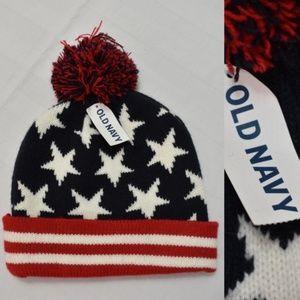 55970ac3 NWT Old Navy Beanie Hat With Pom Stars & Stripes